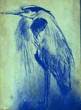Blue heron - Stanley Park - stencil poster blue