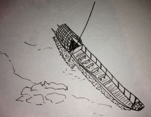 Laos - boat on the Mekong sketch