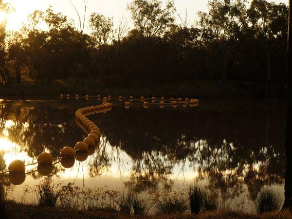 Weir buoys on the Balonne - sunset