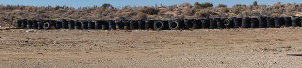 Mungerannie Roadhouse - back yard tyre pile