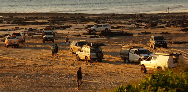 4wd traffic on Cable Beach sunset