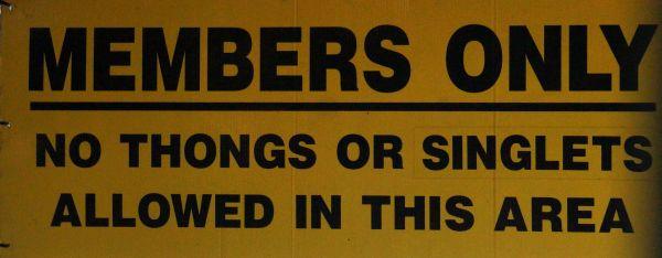 No thongs or singlets