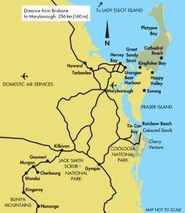 Queensland - map of Fraser Island region