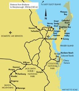 Queensland - map of Fraser Island region