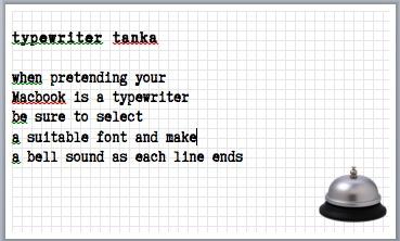 typewriter tanka