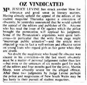 Oz vindicated - Canberra Times 1965