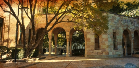 Walk to courtyard - UQ July 2014 - Ancient Canvas effect