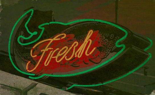 Pike Place Market - neon fish sign - 20 Sept 2014