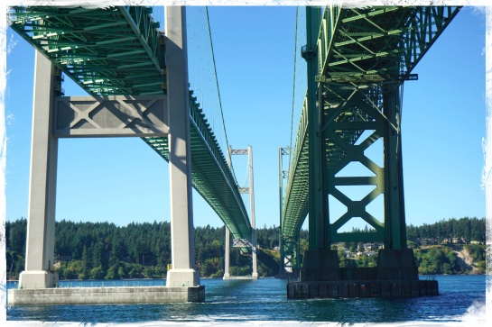 Tacoma Narrows Bridge from Cascade Train - 20 Sep 2014