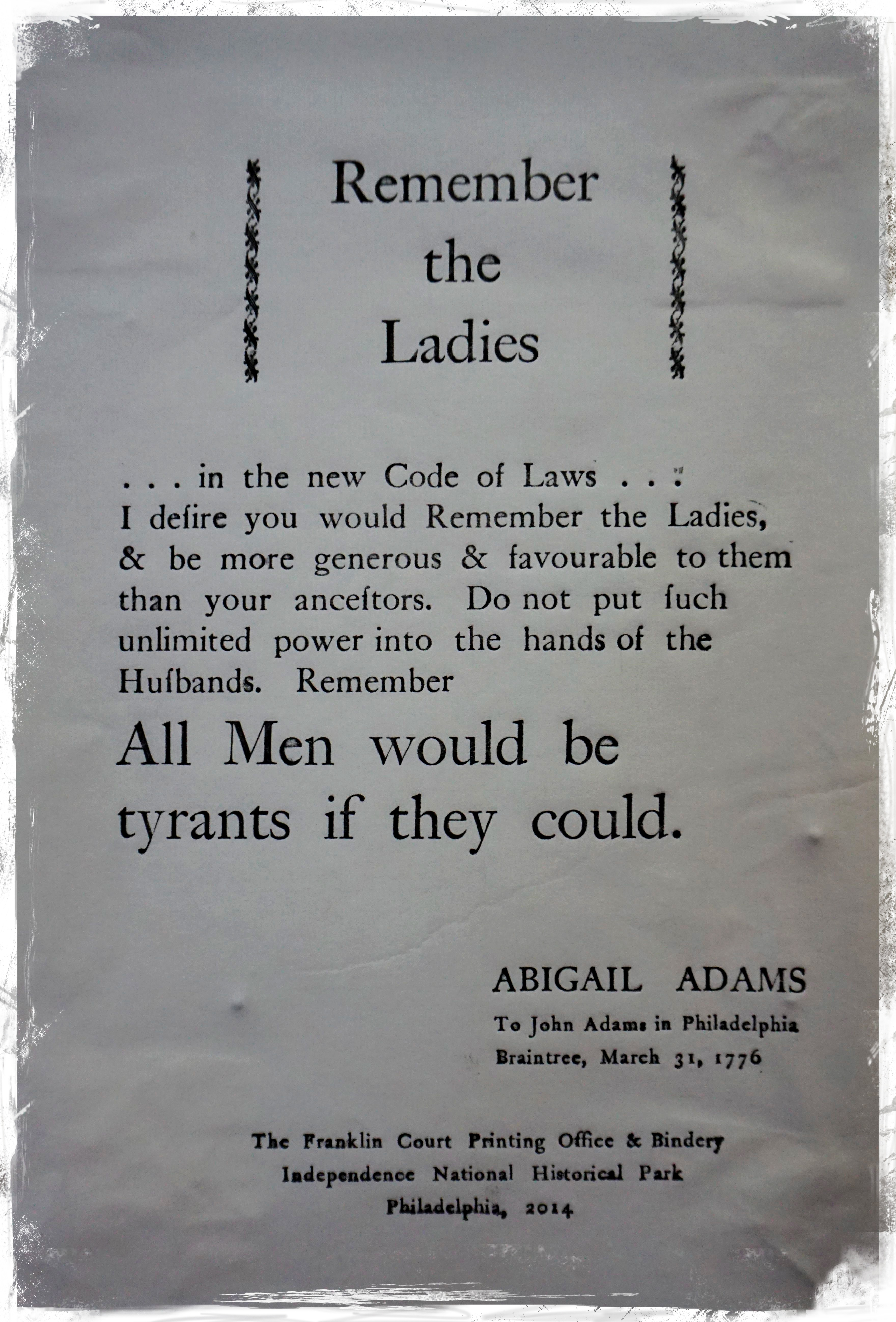 remember the ladies in the declaration The role of women`s suffrage in the history of the united states of america   make i desire you would remember the ladies and be more generous and  favorable  that declaration spread the fire of a revolution that would reach  every facet of.