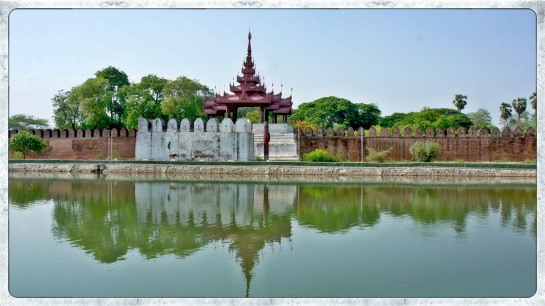 across the moat to Mandalay Palace