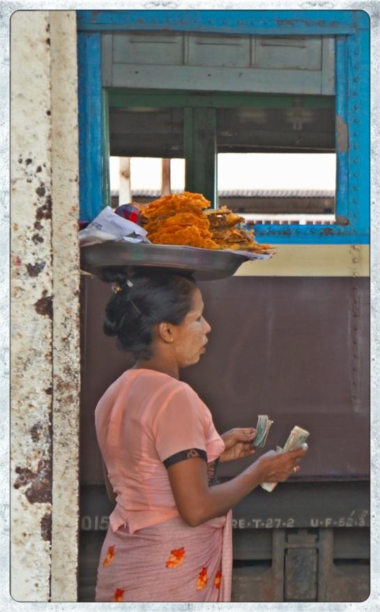 Bago railway station - food trader