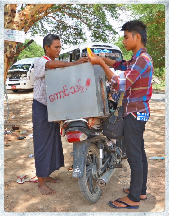 Ice block transaction - Mandalay to Bagan bus trip
