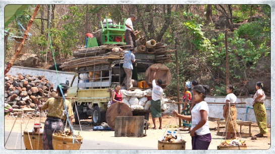 Mt Popa - loading the truck