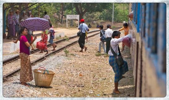Station stop - Kyauk Tan on the way to Bago