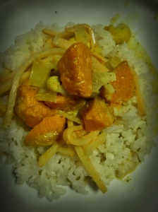 Dinner 4 June 2016 - Green curry - pumpkin, bamboo shoots, cauliflower