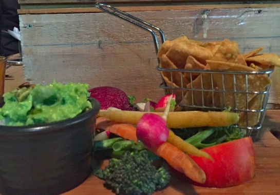 Guacamole with raw vegetables and corn chips - Smith & Daughters - 12 June 2016