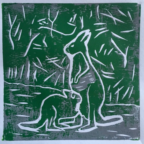 Grey kangaroo and older joey - green on grey - linocut