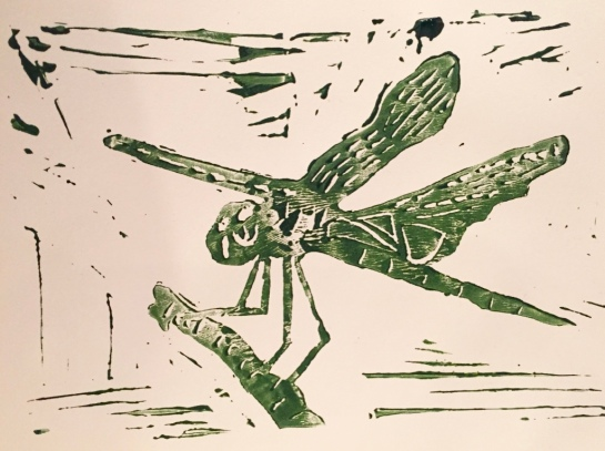 Kimberley dragonfly - green ink - linocut