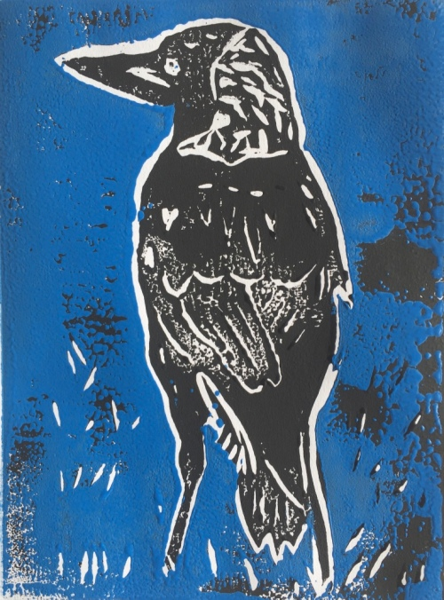 Magpie at Oyster Point - blue on black - linocut