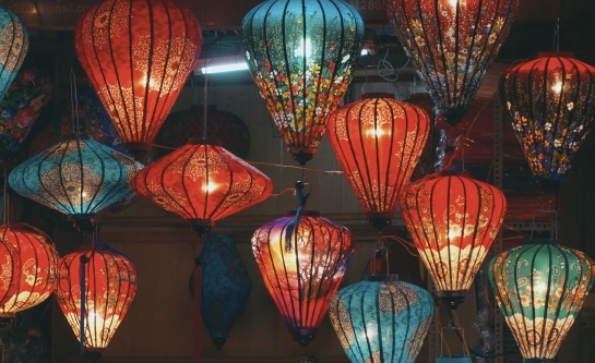 A picture of a red and blue baloons in Hoi An, Vietnam -- Lynn B. Walsh's Travels, Foods, and Stories | The Black Lion Journal | The Black Lion