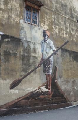 Penang street art 10 - The Indian Boatman