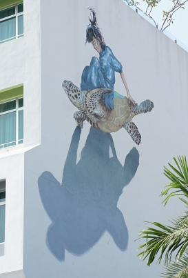 Penang street art 11 - Girl on turtle