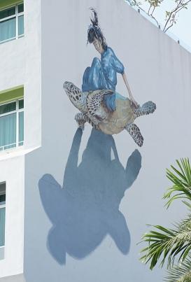 Penang street art 11 - Girl on turtle