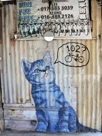 Penang street art 3 - blue kitten